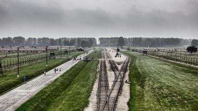 Photo of Auschwitz in Polish language